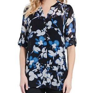 Calvin Klein Floral Print Roll-Sleeve Button (334)